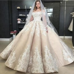 puffy church dresses Coupons - Vintage Puffy Light Champagne Wedding Dresses Off The Shoulder Applique 2019 Off Shoulder Plus Size Church Garden Princess Bridal Gowns