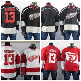 rot grau hockey jersey Rabatt Detroit Red Wings Trikots Der beste Spieler 13 Pavel Datsyuk Hohe Qualität gestickte Männer Eisgrau Eishockey-Trikots genähte