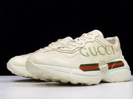 2019 mediados de corte zapatos para correr TOP 4 Estilos zapatos gucci Diseñador Zapato hommes gucci Rhyton Vintage Mouth Print Apollo Leather zapatillas gucci Calzado de lujo unisex zapatos casuales tamaño 35-44