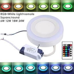 2019 kreis blei Umlight1688 Acryl Dimmbare zweifarbige weiße RGB-Oberfläche LED-Flächenleuchte 6W 9W 18W 24W Downlight Einbauleuchte mit Fernbedienung