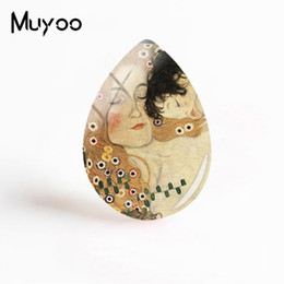 love flowers photos Promo Codes - New Gustav Klimt Kiss Jewelry Mother And Child Tear Drop Glass Cabochon Hand Craft Photo Gifts Women