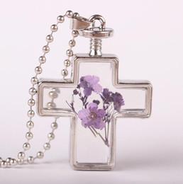 Cruces de resina para online-Collar colgante de flores secas Bellamente elegante imitación cristal resina gargantilla cruz collar seco flor joyería moda cristal collares