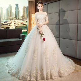 bf383cac961 The main light wedding dress 2018 new bride has a French tail on her  shoulder and a dream winter super fairy lady