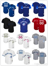f1022b625 custom Men's women youth Majestic Blue Jays Jersey #00 Any Your name and  your number Home Blue Red Grey White Kids Girls Baseball Jerse