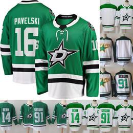 camisas de hóquei verde em branco Desconto Homens # 16 Joe Pavelski Jersey 14 Jamie Benn 91 Tyler Seguin costurado envio em branco 100% Hockey Jerseys baratos Branco Verde gratuito