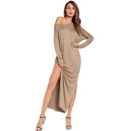 Canada Jolies femmes occasionnelles longue robe unie de couleur lâche de l'épaule haute Split Up Beach Street robes maxi cheap nice dress up Offre