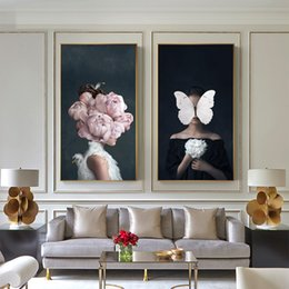 women room paintings Coupons - WANGART Larger Size Nordic Poster Canvas Print Flowers Butterfly Woman Oil Painting Wall Art Pictures For Living Room Home Decor