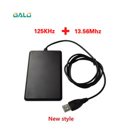 Rfid android online-ID de frecuencia dual IC 125Khz 13.56Mhz USB RFID Card Reader opcional para Android Win Linux