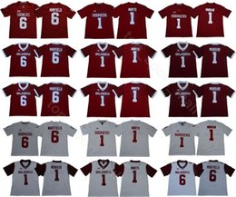 Oklahoma Sooners College 6 Baker Mayfield Jersey 1 Kyler Murray 1 Jalen duele 28 Adrian Peterson Rojo Blanco Fútbol Big 12 XII desde fabricantes
