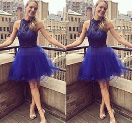 Royal Blue Холтер Платья для возвращения на родину из бисера чистой шеи Тюль Короткие мини-Line Коктейль выпускного вечера бальное платье на заказ торжественная одежда от