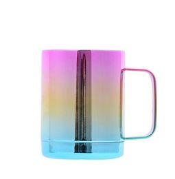 Xícaras De Café de Aço inoxidável Rainbow Gradiente Caneca Vacuum Insulated Beer Cup Garrafa com alça e tampas de carro Portátil copos GGA1926 de