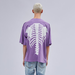 Camiseta vintage hip hop online-Camiseta morada de manga corta de los hombres de Hip Hop relajada de la camiseta de la vendimia