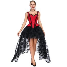 17c5bca34b Sladuo Red Jacquard Lace Straps Overbust Corset Dress Slimming Burlesque  Steampunk Corset Sexy Gothic Bustier