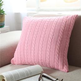 2019 fundas de almohada hechas en casa Funda de almohada 11 tipos de cojín de color Faux Knitting Home Decorativo hecho a mano Funda de almohada Funda de cojín para uso de viaje, regalo de Navidad de 18X18 pulgadas rebajas fundas de almohada hechas en casa