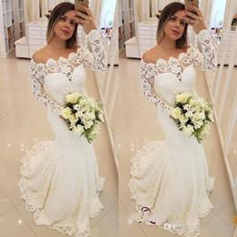 2019 vestido de novia sirena lentejuelas rhinestone Sexy sirena blanca de manga larga de encaje vestidos de novia Bateau apliques de encaje largo tren de barrido Playa barato vestidos de novia robe de mariée