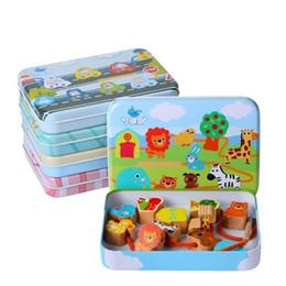 Holzfäden perlen online-Logwood Holzspielzeug Baby Diy Spielzeug Cartoon Obst Tier Bespannung Threading Holzperlen Spielzeug Monterssori Pädagogisches Für Kinder