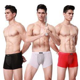 молоко шелковое нижнее белье men s Скидка 3 Шт. / Лот 15-го поколения британских Вэй брюки сильные магнитные мужское здоровье молоко шелк боксер мужчины нижнее белье