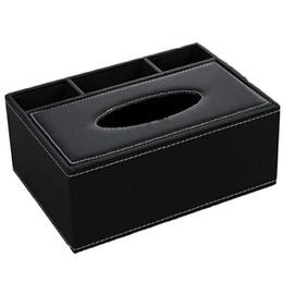 tovaglioli di carta dell'annata all'ingrosso Sconti Scatola portafazzoletti in pelle porta telecomando multifunzionale porta pennino organizer da tavolo nero