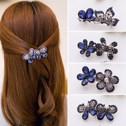 wedding hair accessories flower girl Promo Codes - Blue Peacock Hairpins Rhinestone Crystal Flower Leaf Hair Clip Barrettes Vintage Hair Accessories Jewelry For Women Girls