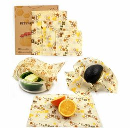 cucharas plegables de titanio Rebajas 3pcs / set Zero Waste Food Reusable Wrap Envoltura de almacenamiento de alimentos de cera de abejas libre sostenible Sostenible Eco Snack Wrap