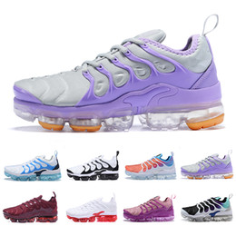 Chaussures sneaker femme en Ligne-Nike Air max vapormax plus tn women Running Shoes white pink purple girl grape womens female sports outdoor trainers sneakers EUR 36-40