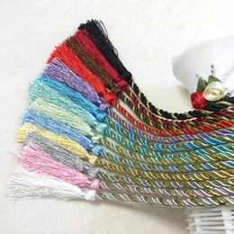 Tende da tenda online-Commercio all'ingrosso 125 cm multicolore arcobaleno color nappe Tieback corda decorazione squisita tessuta a mano cordino cinghia legatura accessori tenda casa