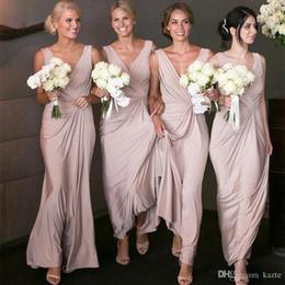 2019 aberto volta casamento vestidos de ouro Simples barato Sexy Bainha Vestidos dama de honra mangas compridas profundo decote em V até o chão empregada doméstica do vestido da honra Convidado de Casamento Vestidos