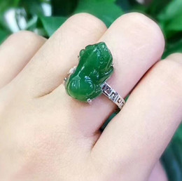 dinero de anillo Rebajas Biyuyang Natural Lucky Money Ring S925 Silver Inlay Green Apple Green Jade Ring Live Certificado ajustable