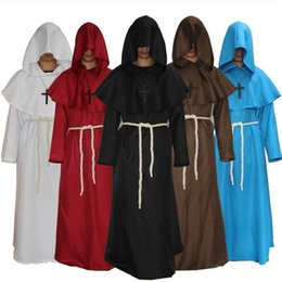 2019 renaissance kostüme männer Mönch mit Kapuze Roben Mantel-Kap Friar Mittelalterliche Renaissance Preisen Männer Robe Kleidung Halloween-Comic-Con-Partei Cosplay Kostüm Priester Kostüm günstig renaissance kostüme männer