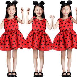 2019 ropa de los niños vestido impreso Niñas vestidos niños de dibujos animados animal impreso princesa vestido niños Arcos sin mangas vestido plisado verano nueva ropa de niña F7827 ropa de los niños vestido impreso baratos