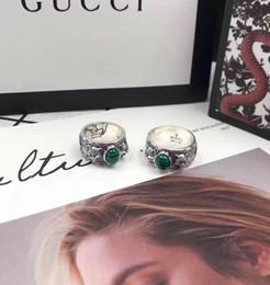 оптовые кольца стерлингового серебра Скидка Новое прибытие S925 чистого серебра кольцо с природой малахита и леопарда дизайн головы для женщин и мужчин свадебные украшения подарок PS7623
