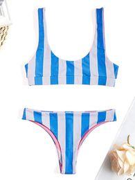 traje de baño de moda Rebajas Belleziva Sexy Trendy Scoop Neck Backless raya cintura baja Bikini conjunto traje de baño traje de baño 2019 Nuevo