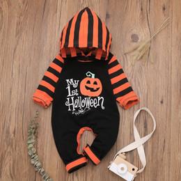 Niño disfraz de calabaza online-trajes de Halloween del bebé niño recién nacido de la muchacha del muchacho de los niños de rayas calabaza mono del mameluco del algodón ropa de la técnica