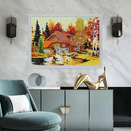 pintando la casa del lago Rebajas Pintura al por mayor diamante parcial House Art Ilustraciones de la pared del árbol para Niños 2019 nuevas llegadas paisaje Lago pintura por números