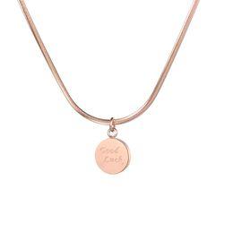 монеты удачи Скидка Розовое Золото Цвет Круглый Монета Кулон Ожерелье Удачи для Женщин Простой Диск Шарм Ожерелье Изысканные Подарки FS23