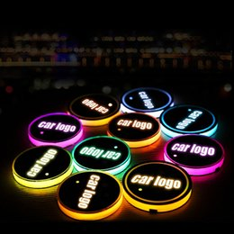 mercedes benz lights Promo Codes - 2pcs LED Car Cup Holder Lights for Mercedes Benz AMG 7 Colors Changing USB Charging Mat Cup Pad LED Interior Atmosphere Lamp
