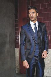 2019 esmoquin azul marino brillante Diseño clásico Brillante Azul marino Novios Esmoquin Pico Solapa Un botón Padrinos de boda para hombre Vestido de novia para hombre Excelente (chaqueta + pantalón + chaleco + corbata) 37 esmoquin azul marino brillante baratos