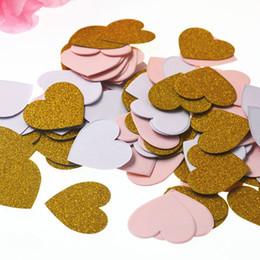 Decorações de festa rosa preto e prata on-line-100 pcs Estrela Coração Mesa Confetti Sprinkles Festa de Aniversário Decoração de Casamento Rosa de Prata Preto Ouro Confete Ofícios De Papel