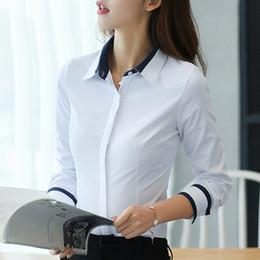 Blusas brancas de manga comprida xxl on-line-Blusas de moda Das Mulheres Tops E Blusa Outono Blusa Solta Mulheres Blusa de Manga Longa Mulher Branca Camisas Das Senhoras Plus Size Xxl MX190711