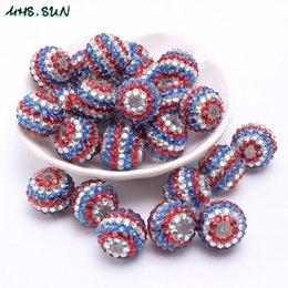 wholesale Newest rhinestone resin beads American flag color loose resin  ball beads 18 20 22mm 50pcs handmade for chunky necklace b6cf2041fe02