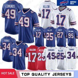 34 Thurman Thomas Jersey 49 Tremaine Edmunds Bills 12 Jim Kelly 25 LeSean McCoy 17 Josh Allen Buffalo 99 Dareus 95 Kyle Williams Cousu ? partir de fabricateur