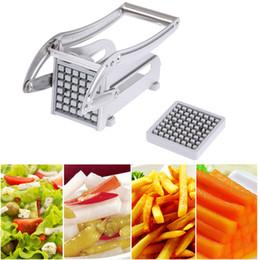 2019 kartoffelschnittmaschine Edelstahl Pommes Frites Cutter Kartoffelchips Streifenschneidemaschine Maker Slicer Chopper Dicer W / 2 Klingen Küchenhelfer Q190524 günstig kartoffelschnittmaschine