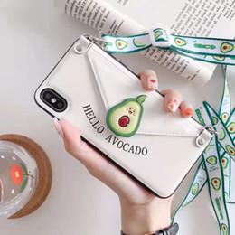 Kortex telefon online-YunRT Cortex Kartenbeutel-Telefonkasten für iphone 8 7 6 6s weiche Avocado-Erdbeerabdeckung des Silikons 3D für iphone XS MAX X XR Lanyard Fundas