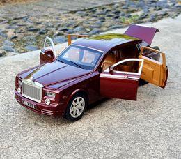 modelo de carro fundido 24 Desconto 1:24 Diecast Luxo Elegante Limousine Sedan Limo Para TheRolls-Royce Ghost Modelo de Carro de Metal coleção 6 Portas Abertas Brinquedos Veículo