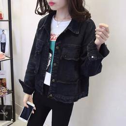Boyfriend jeans allentato nero Giacca di jeans Le donne del cappotto 2019 primavera estate nuovo casuale Ripped rivestimento delle signore vestiti