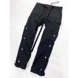 Uomini di pantaloni di svago online-FOG Sweatpants Donna Uomo 1f: 1 Pantaloni Zipper Cargo di alta qualità Pantaloni per il tempo libero Pantaloni Pantaloni da jogging Pantaloni felpati
