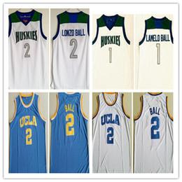Винтажные брюки трикотажные изделия онлайн-Мужская Винтаж # 1 Lamelo Ball Lonzo Ball Chino Hills Huskies High School Баскетбол Джерси Дешевые UCLA Bruins College Lonzo Ball # 2 Сшитые