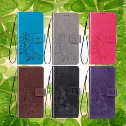 2019 suportes para cartões Sorte trevo flor pu carteira de couro case para samsung galaxy a10 a30 a40 a50 m10 m20 xiaomi mi 9 se slots de cartão de suporte de luxo tampa da aleta 1 pcs suportes para cartões barato