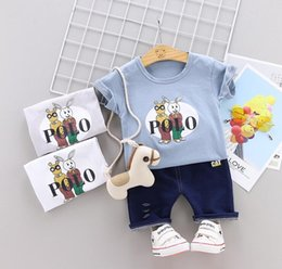 girl kids t shirt design Coupons - Little Kids Sets 1-3T Kids T-shirt And Short Pants 2Pcs sets Baby Boys Girls 95% Cotton Pattern Design Printing Style Summer Sets hf60402