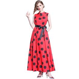 plus size european kleidung für frauen Rabatt Europäische und amerikanische A-Linie Abendkleid Explosion Models Stehkragen Ärmelloses Wellenkleid Large Size Damenbekleidung
